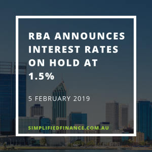 RBA announces rates on hold at 1.5% for February 2019