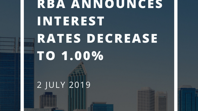 RBA announces interest rates decrease to 1.00% for July 2019