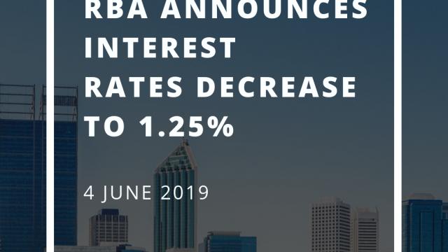 RBA announces interest rates decrease to 1.25%
