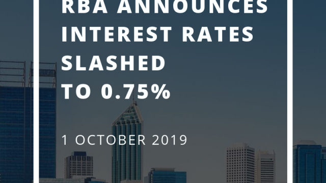 RBA announces interest rates slashed to 0.75% October 2019